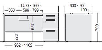 デュエナ 片袖机 オンライン デスク パネル脚 a4 3段 kタイプ w1600 d700