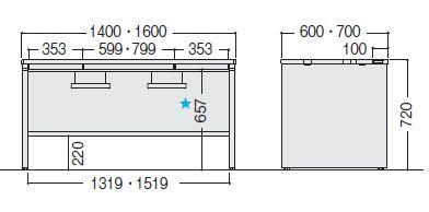 デュエナ 平机 デスク パネル脚 引出し付き kタイプ w1600 d600 h720mm