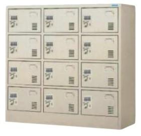 12人用ダイヤル錠小物ロッカー 3列×4段 ダイヤル式錠 /TO-DLK-1234N