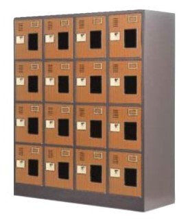 16人用シューズボックス 窓付き 木目型中棚付 鍵無し 4列×4段 /TO-WEL-1644MT