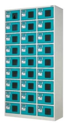 27人用ロッカー スポーツタイプ 窓付き合鍵式 シリンダー錠 3列×9段 /TO-WEL-2739N