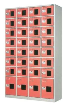 32人用コンビロッカー スポーツタイプ 窓付き合鍵式 シリンダー錠 4列×8段 /TO-WEL-3248NSL
