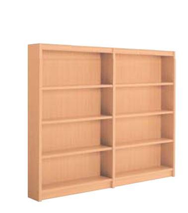 木製書架 直立 2連 片側 4段 高さ1545mm /TO-S-BBED