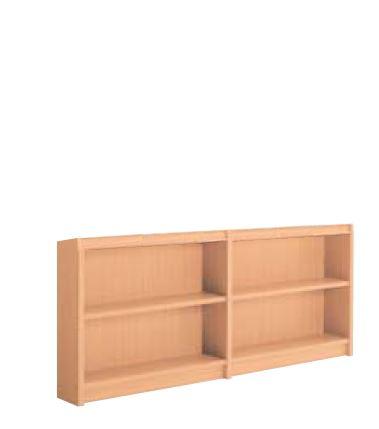 木製書架 直立 2連 片側 2段 高さ830mm /TO-S-BED