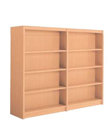 木製書架 直立 2連 両側 4段 高さ1545mm /TO-W-BBED
