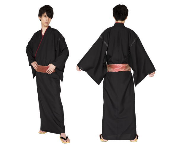 メンズ 花鳥風月着物漆黒 着物 和風 袴 袴風 きもの 和柄 ハロウィン コスプレ コスチューム 衣装 仮装 かわいい