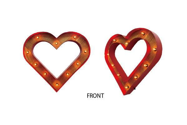 【アメリカン雑貨】サインライト【WOOD HEART】【RED】【ハート】【電飾】【看板】【アメリカ雑貨】【ライト】【ブリキ看板】【インテリア】【アメリカ】【USA】【かわいい】【おしゃれ】