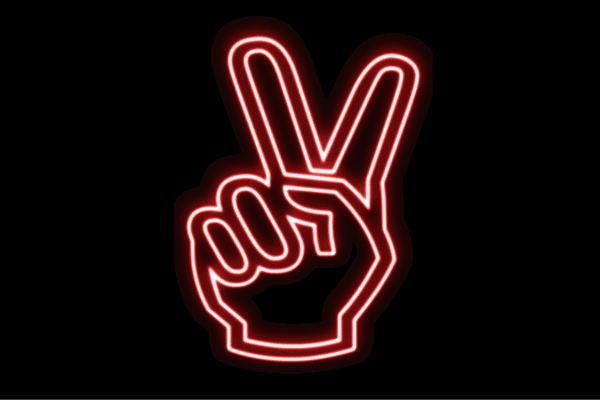 【ネオン】ピース【チョキ】【ちょき】【手】【て】【ゆび】【フィンガー】【てのひら】【パー】【イラスト】【ネオンライト】【電飾】【LED】【ライト】【サイン】【neon】【看板】【イルミネーション】【インテリア】【店舗】【ネオンサイン】【アメリカン雑貨】