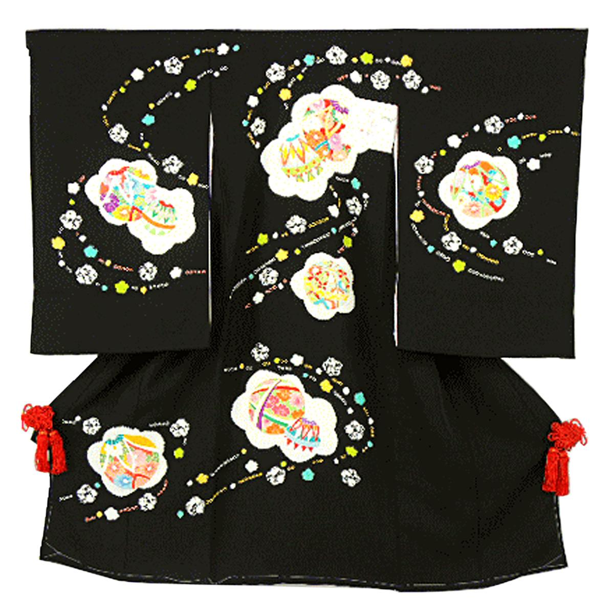 宮参り着物 -34- 熨斗目 女の子用 絹100% 絞り 黒 花柄