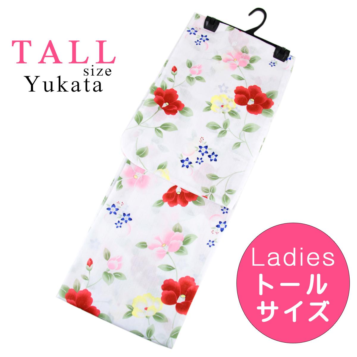 浴衣 レディース -44- トールサイズ 綿100% 白 つばき 花柄