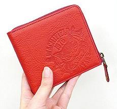 【わちふぃーるど】ダヤン財布 スマートファスナー財布 赤 本革 財布 猫雑貨