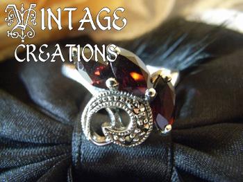【VINTAGE CREATION 48】ガーネットとマーカサイトのシルバーリング 13号 /アメリカからのインポートジュエリー