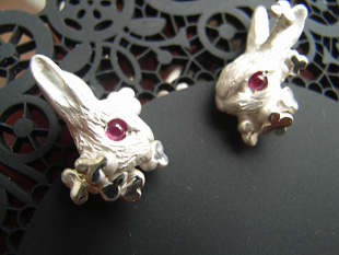 """""""Stock-friendly! """"102 rabbit earrings and Ruby with! white rabbit earrings 925 Silver-White 05P30May15"""