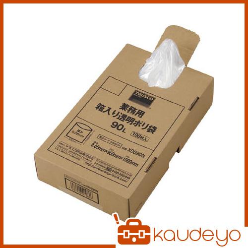 TRUSCO 業務用ポリ袋 透明・箱入り 0.05X90L 100枚入 X0090N 8539