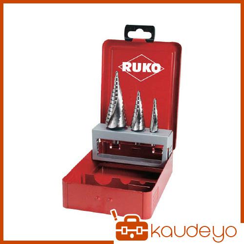 RUKO 2枚刃スパイラルステップドリルセット 3本組 ハイス 101026 8137