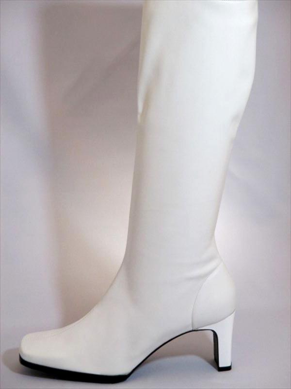 イベント用白ブーツ7cmヒール イベント 衣装 コンパニオン ブーツ ハイヒール ストレッチ 人気 定番 白 ホワイト