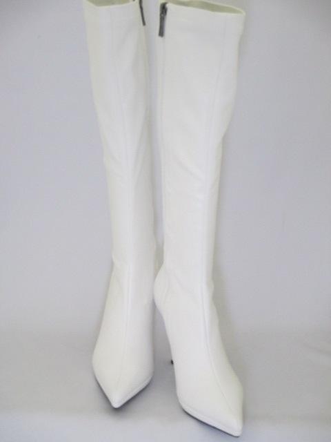 イベント等の衣装に最適なストレッチ白ブーツです ストレッチ素材を生かした細身のシルエットで足を細く綺麗に魅せます イベント用白ブーツ レースクイーン 人気ブランド イベント衣装 送料無料カード決済可能 ピンヒールブーツ ストレッチブーツ 美脚ブーツ 衣装 細身 白 コンパニオン 美脚 9207WH イベント