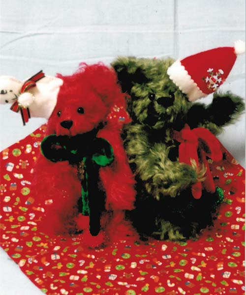 植森さんのモヘア製16cmベア(赤色、緑色2種類) ハンドメイド【楽ギフ_メッセ入力】【プレゼントにもオススメ】【メッセージカード無料】【5002014】