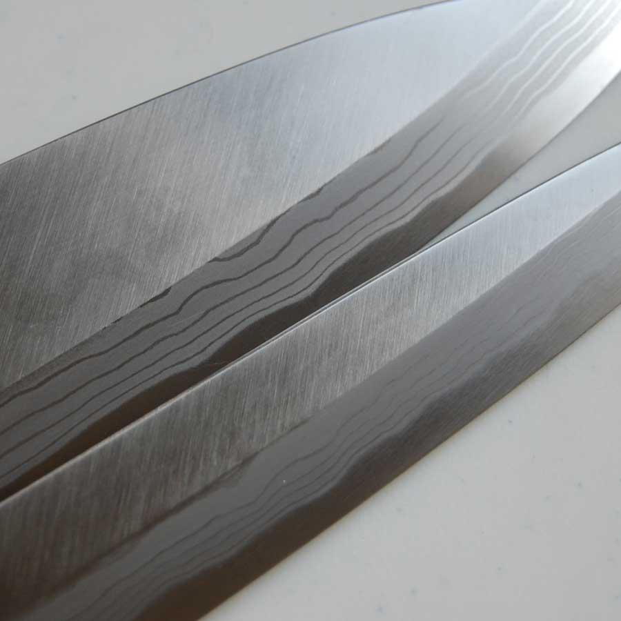 安来蓝纸钢使用多层 Yanagi 生鱼片刀 210 毫米 Deba 150 毫米紫檀木模式套刀