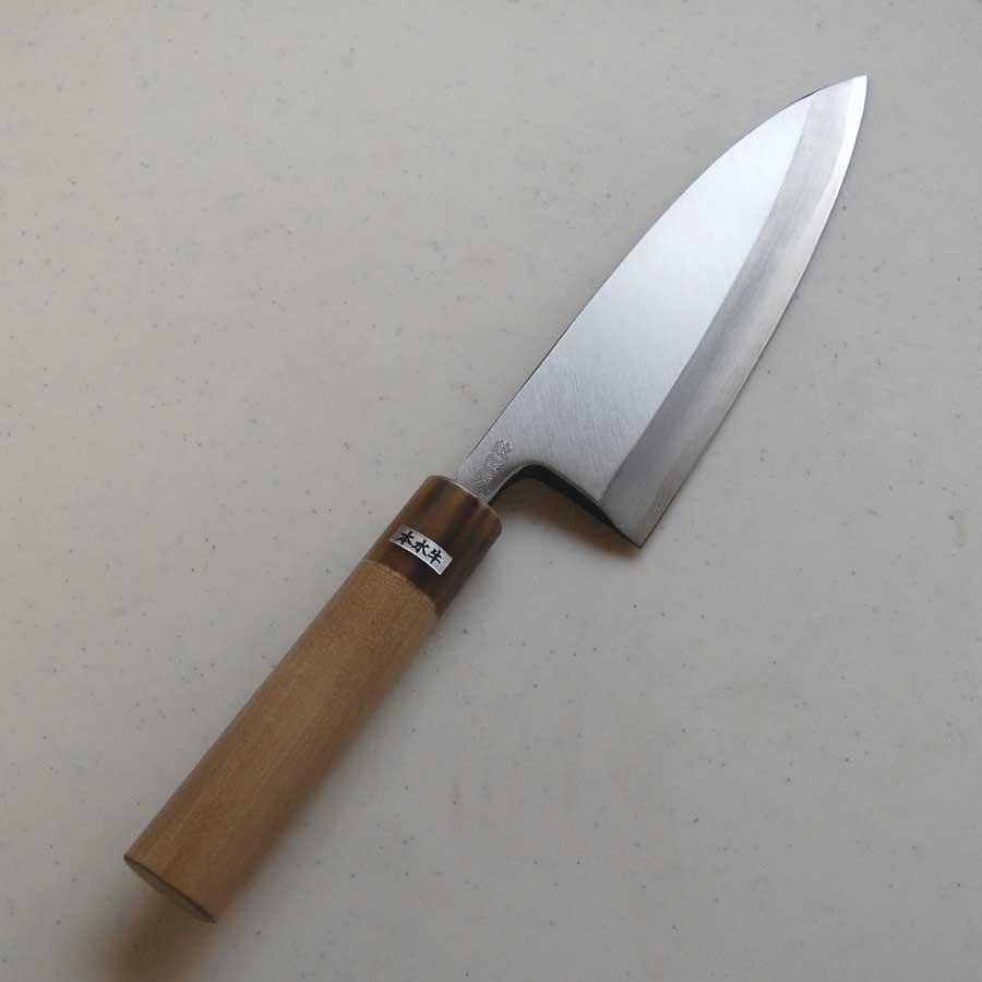 安来青紙鋼使用 青紙片刃出刃包丁カスミ仕上 165mm 水牛柄 【送料無料】
