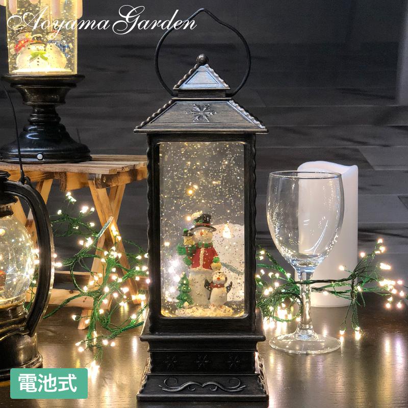 クリスマス 飾り 装飾 室内 アンティーク 置き物 デコレーション / スノードームライトランタン スノーマン /A