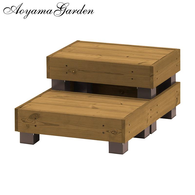デッキ 縁台 木 ウッド アルミ 耐久性 ユニット 庭 ガーデン タカショー / サーモウッドデッキ 2段ステップ /B