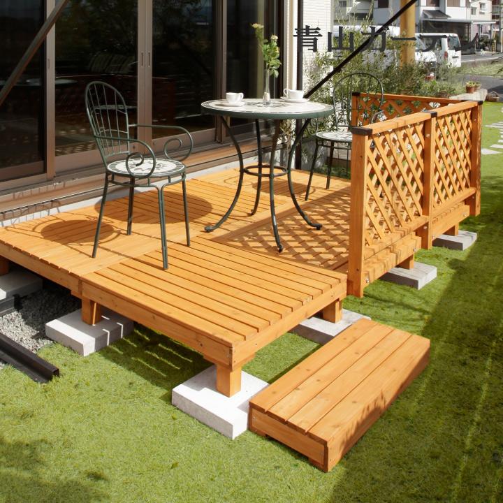 デッキ 天然 木 ウッド セット DIY テラス 床 庭 ガーデン タカショー 母の日 2019 / システムデッキ 1.5坪 ナチュラル /D