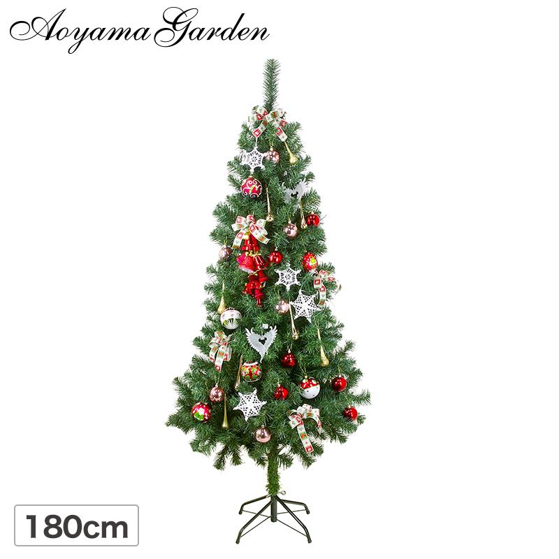 クリスマスツリー 飾り オーナメント デコレーション セット / 「シャルマンルージュ」スタンダードツリー 180cm+オーナメント2キット /B