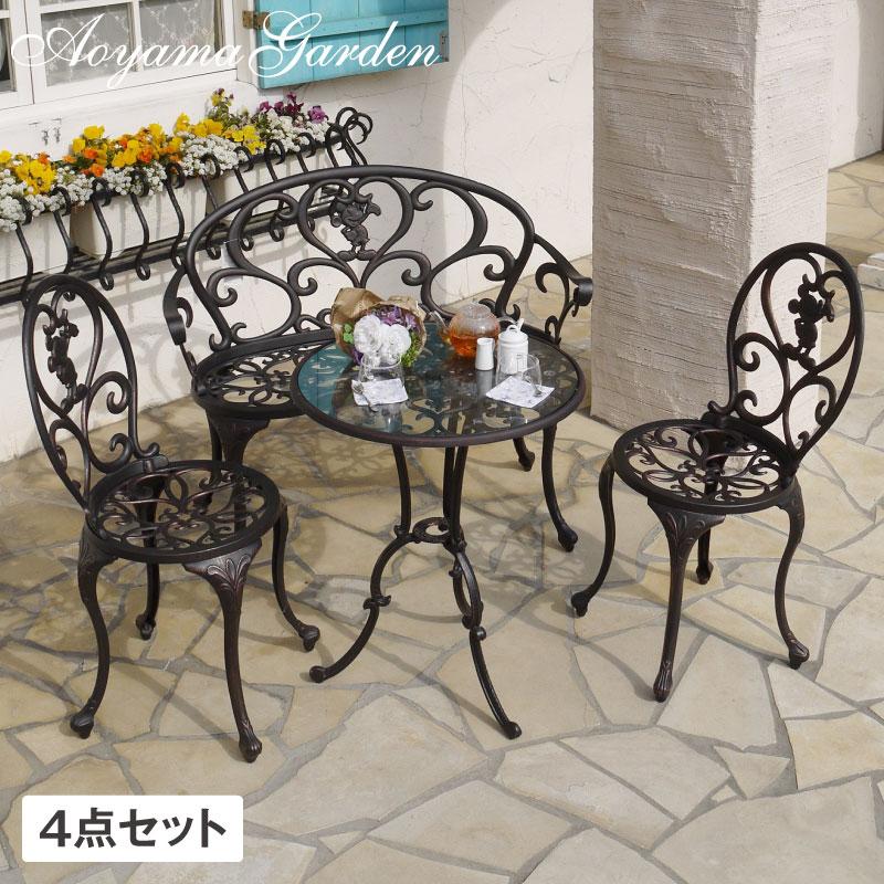 テーブル イス ベンチ セット 机 椅子 チェア 屋外 家具 ミッキー Disneyzone タカショー / ファンタジア テーブル 4点セット /C