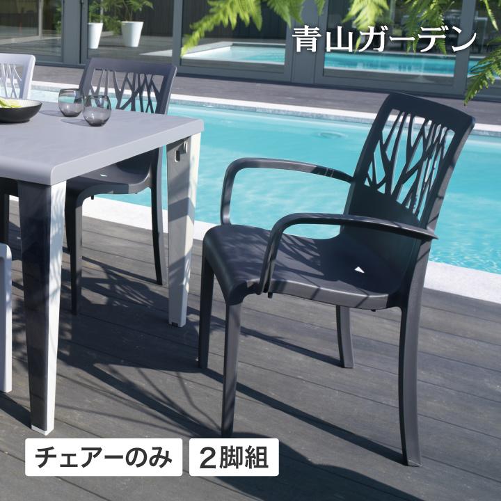 イス チェア 椅子 屋外 家具 ファニチャー ガーデン タカショー / ベジタル アームチェアー ダークグレー 2脚組 /B