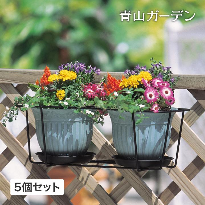 ハンギング 壁掛け 寄せ植え 菜園 タカショー / プラントホルダー ダブル(大)ブラック 5個セット /A