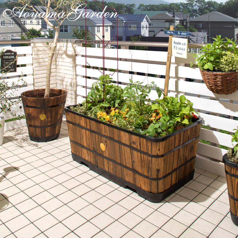 鉢 プランター ポット 天然 木 ガーデニング 菜園 寄せ植え タカショー / ウッドスクエアプランター 920 /B