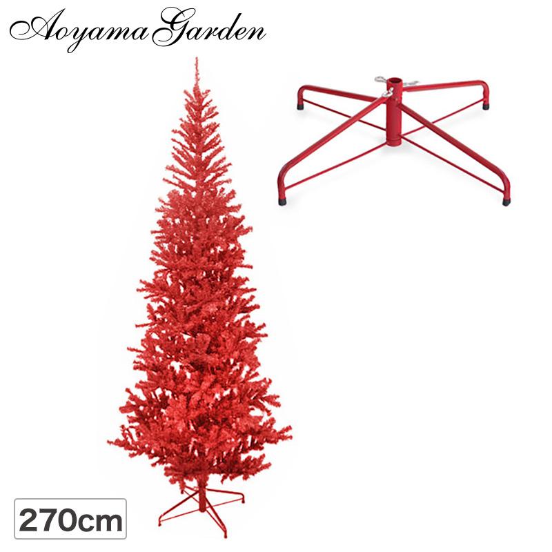 クリスマス ツリー 店舗 施設 イベント 人工植物 / スリムツリー 270cm レッド /B