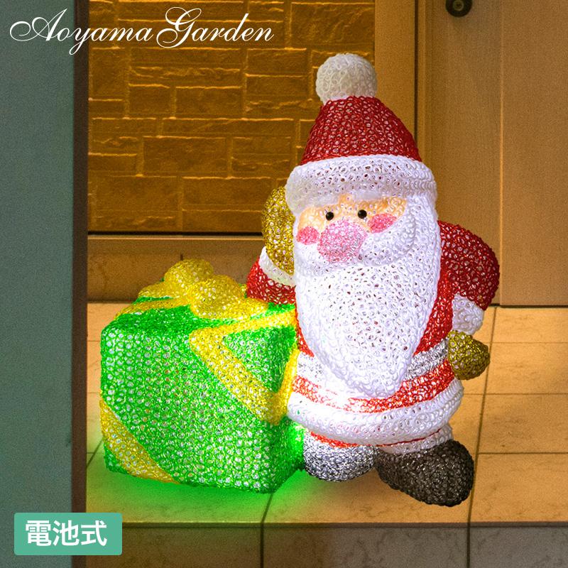 イルミ LED ライト 屋外 クリスマス サンタ 電飾 タカショー / 電池式 3Dクリスタルモチーフ まちくたびれサンタ /A