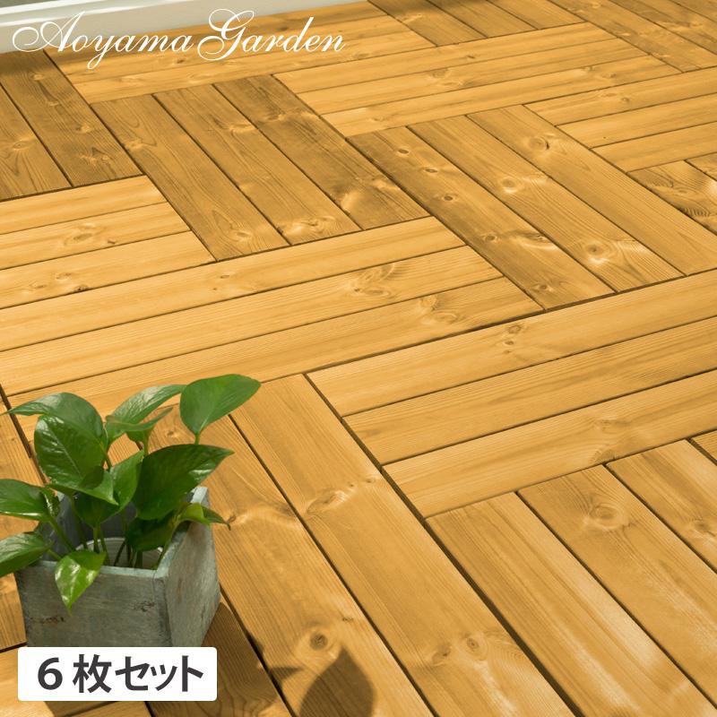 デッキ 天然 木 ウッド 耐久性 パネル 床 庭 ガーデン タカショー 母の日 2019 / サーモウッド フロアデッキ 30×60 6枚セット /A