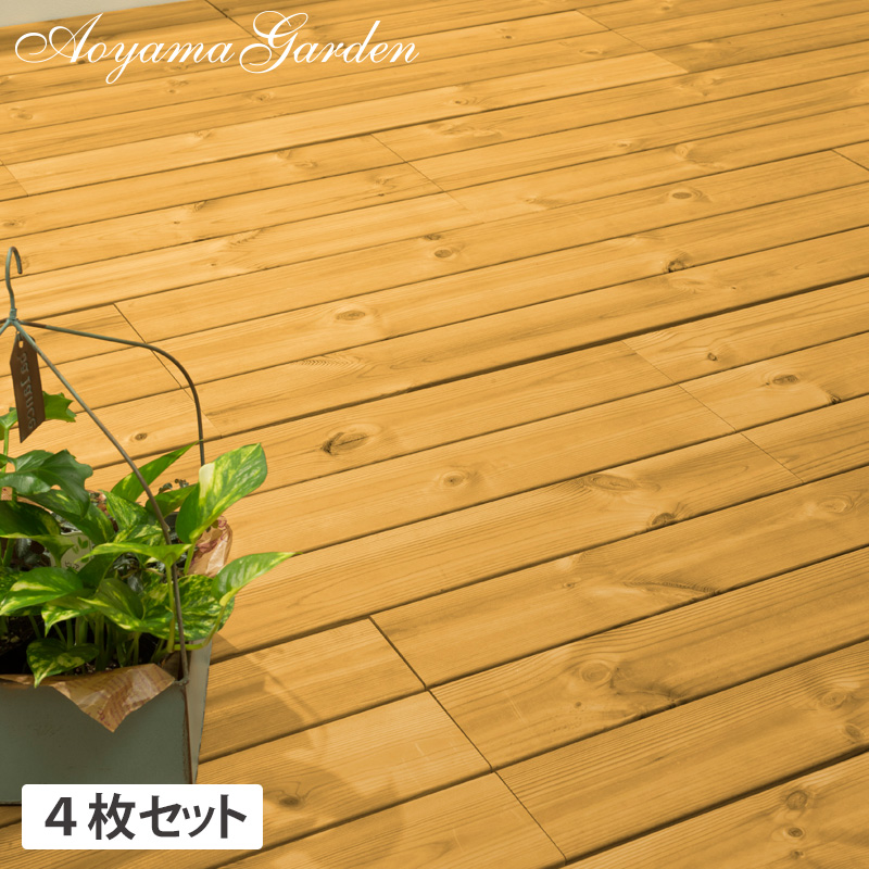 デッキ 天然 木 ウッド 耐久性 パネル 床 庭 ガーデン タカショー / サーモウッド フロアデッキ 30×90 4枚セット /A