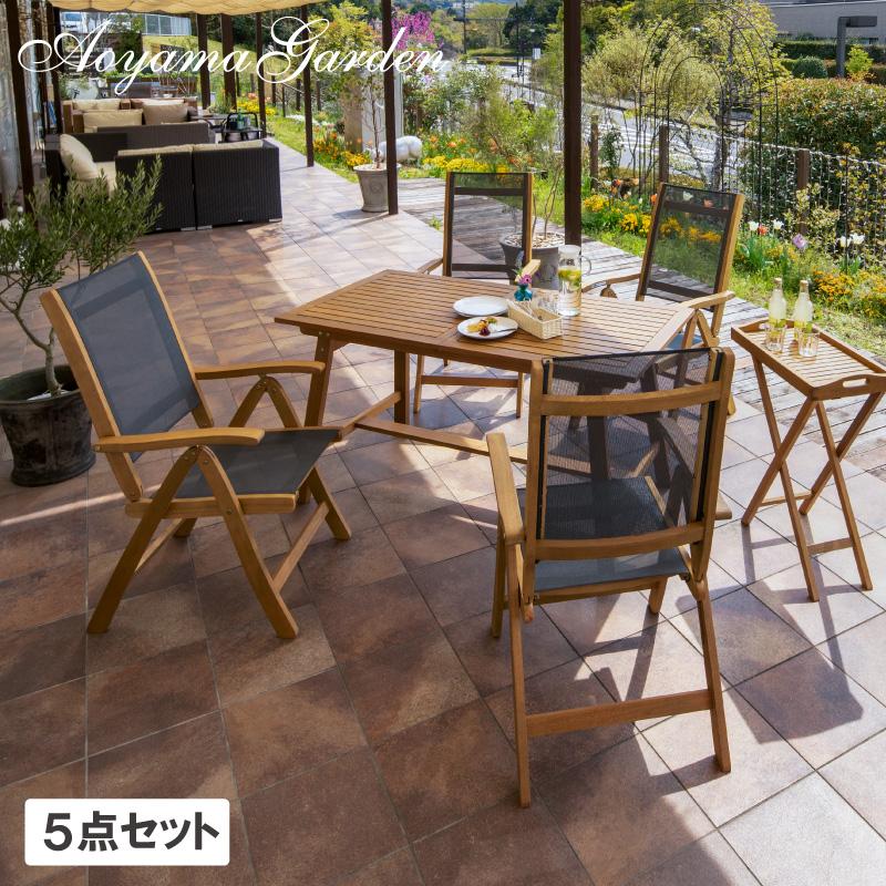 テーブル イス セット 机 屋外 天然 木 ユーカリ 伸縮 折りたたみ タカショー / マリーウッド エクステンションテーブル5点セット /D