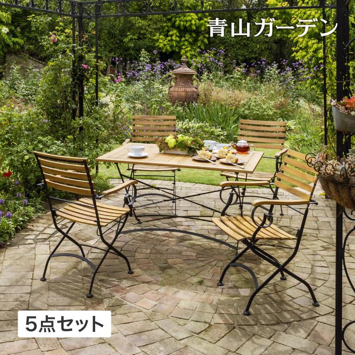テーブル イス セット 机 椅子 チェア 屋外 天然 木 アカシア タカショー / アシュリー フォールドウッド ダイニングテーブル5点セット /D
