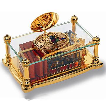 スイス・リュージュ REUGE オルゴール  ガラスボックス 金メッキ「シンギング・バード」AXT.92.6960.000