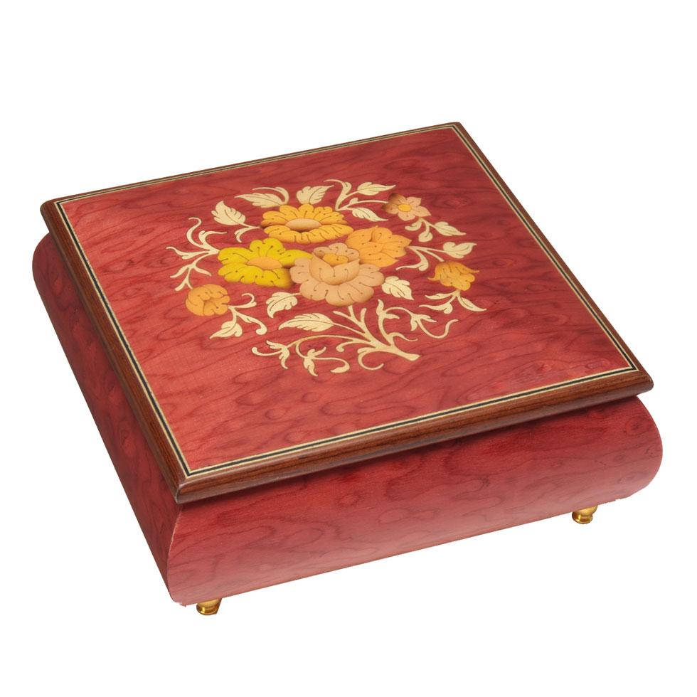 スイス・リュージュ REUGE オルゴール  1曲 22弁 ニレのコブ材 宝石箱 RXA.22.2660.F00