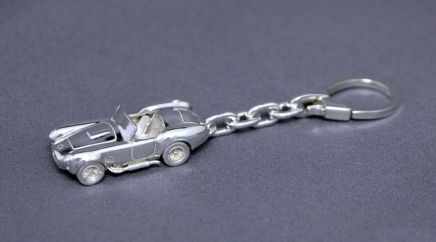 SilverCar (Silver car) key ring, Cobra 427 silver crafted miniature car sterling silver 1 / 100 scale]