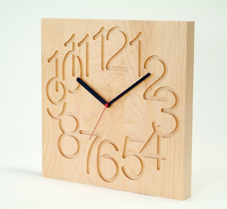 旭川工艺车间余弦 (余弦) 先知时钟 (大) 枫树木材 CW-09 厘米木墙上钟表 (墙上的钟)