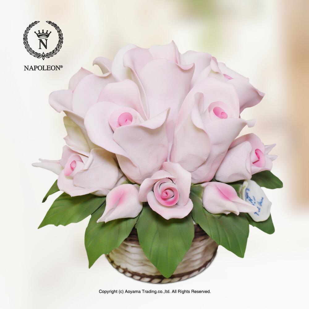【ナポレオン社】イタリア製 陶花 バラのバスケット 置物 花 送料無料敬老の日 母の日 ギフト