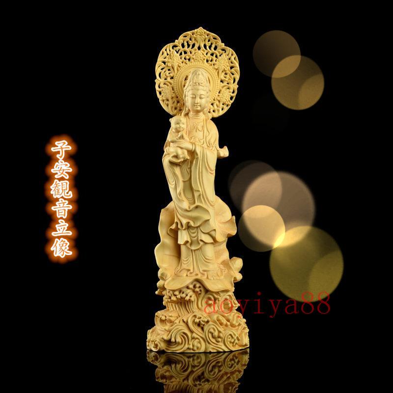 仏像立像 黄楊木彫り 置物 子安観音像 最新 23CM 縁起仏像:水子観音 公式ストア 彫刻仏像 厄除け 純手工彫刻 精密彫刻 開運 仏壇仏像 置物木製彫刻