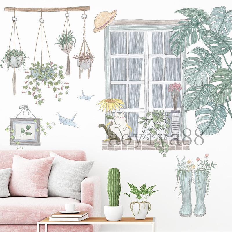 仮窓 壁紙 絶品 ウォールステッカー 格安 価格でご提供いたします 猫と植物 フレッシュ 北欧 はがせる シール ins 和やか 飾り