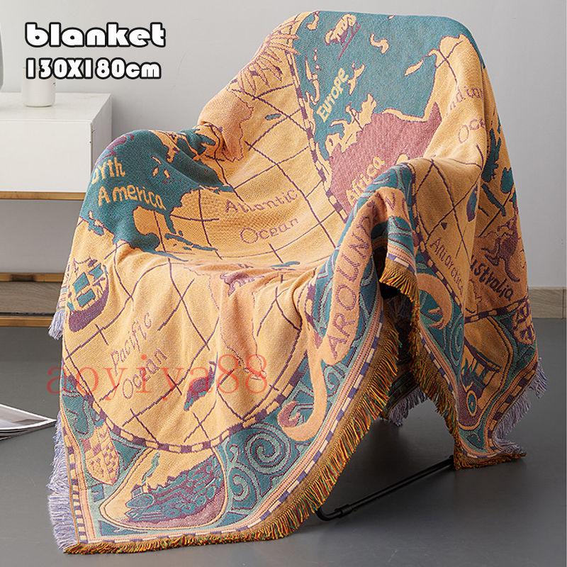 世界地図 ヴィンテージ ブランケット 爆買い送料無料 ソファー毛布 絶品 掛け布団 冷房対策 保暖 家庭用 清潔 タペストリー