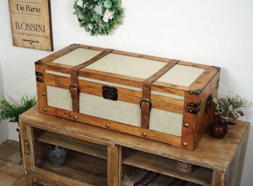 シャビーシックなトランクボックス!サンジュートチェストウェルカムトランク レトロ ウェルカムボックス 雑貨 収納ボックス トランクBOX 内装 結婚式 ウェディングボックス 店舗什器 クラシック 宝箱 ウェディング ウェルカム