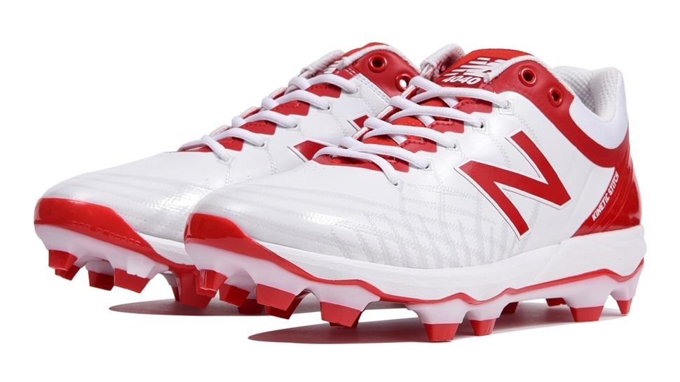 ニューバランス(new balance) 野球用ポイントスパイク (19aw) ホワイト×レッド 靴幅: D(やや細い)PL4040Q5D