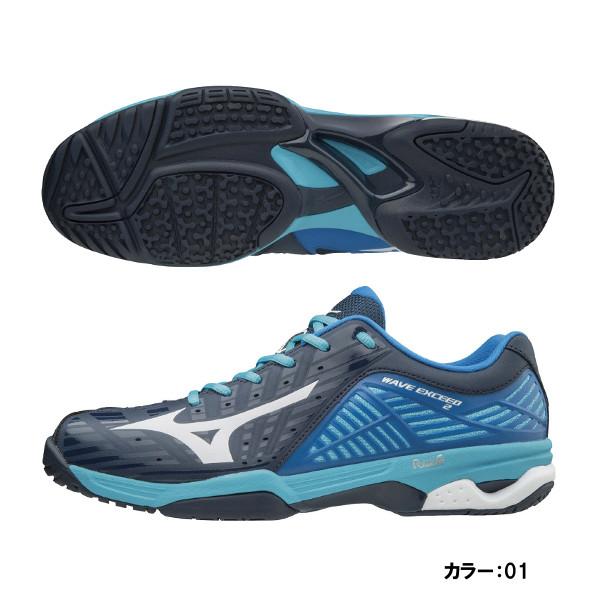 ミズノ(mizuno) ウエーブエクシード 2 WIDE OC シューズ ユニセックス (18aw) ブルー×ホワイト×ネイビー 61gb181301