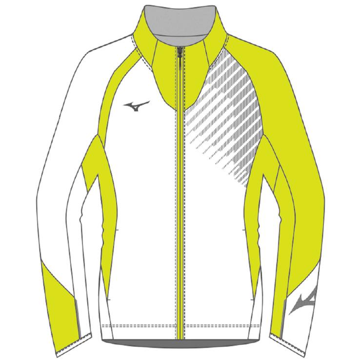 ミズノ(mizuno) ブレスサーモ ライトウオーマーシャツ ユニセックス (18aw) ホワイト×ライムグリーン S/M 62JE850574